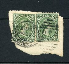 FALKLAND IS 1891-1902 ½d green pair on piece with GB postmark. Heijz cat £60.