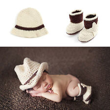 Baby Photography Props Cowboy Crochet Costume Knitted Newborn Costume Hat+Shoes
