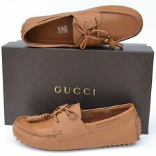 GUCCI New sz 10 G - US 10.5 Authentic Designer Mens Drivers Loafers Shoes Brown