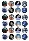 24 SPACE CUPCAKE TOPPERS ICED ICING FAIRY CAKE BUN TOPPERS