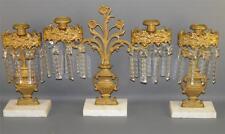 Antique Victorian Dietz Br.Co Bronze  Girandole Set  Urns Prisms Candlesticks