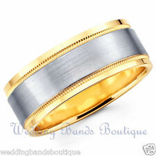 18K TWO TONE WHITE YELLOW GOLD WEDDING BAND SATIN FLAT MILGRAIN MEN'S RING 7MM