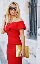 ZARA RED OFF-THE-SHOULDER DRESS SIZE SMALL REF 7972/155