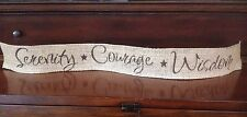 Primitive Burlap Wired Ribbon Banner Serenity Courage Wisdom Ornament Garland AA