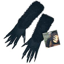 Halloween Cat Woman Gloves Black Faux Fur With Attached Claws Fancy Dress