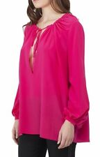 $1250 NWT YSL YVES SAINT LAURENT SIGNATURE PAYSANNE BLOUSE IN PINK SILK Crêpe
