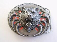BEAR BELT BUCKLE VINTAGE NATIVE AMERICAN INDIAN, SISKIYOU MAKER V-92 MADE IN USA