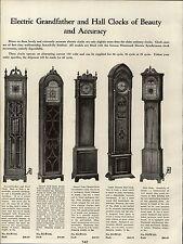 1937 PAPER AD Electric Hall Grandfather Clock Clocks Gothic Square Mahogany