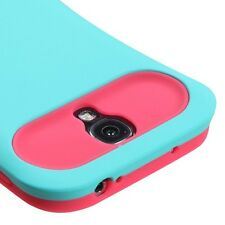 Samsung Galaxy S4 i9500 - HARD RUBBER CARD WALLET CASE COVER TURQUOISE PINK