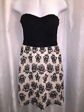 NWT Damask mini dress black velvet beige off white chiffon sweetheart tube top M