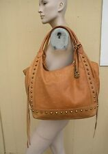 LUCKY BRAND TAN LEATHER STUDDED TOTE BAG PURSE