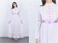 Vintage 70s White Purple Mod Dress Boho Hippie Crochet Lace Cutout Victorian XS