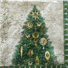 10 Paper Napkins Decoupage Christmas Tree Ornaments Green Gold Beverage Pooch