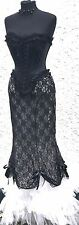 Gothic Steampunk 3 Pcs Fishtails Skirt & Black BonedCorset,Choker Size M/12