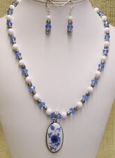 Necklace and Earrings Handmade Ceramic Blue and White Pendant Light Blue Beads