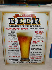 New Tin Sign- How To Order A Beer Around The World- A Beer, Please- Made in USA
