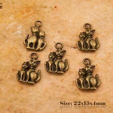 5 antique style vintage bronze pendentif CHARMS CHATS 239