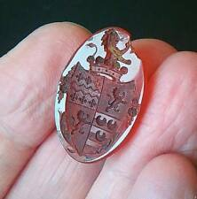 ANTIQUE CARNELIAN AGATE INTAGLIO WAX SEAL ARMORIAL COAT OF ARMS CREST
