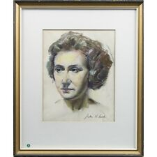 Original Glasgow Art School Realist Pastel Drawing Head Portrait Signed Lusk