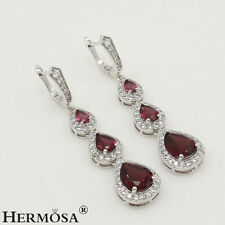 Hermosa® 925 Sterling Silver Fire Red Garnet Clear Topaz Wedding Prom Earrings