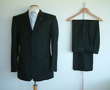 "BESPOKE SUIT BY DEL TAILORS..PURE WOOL..WAIST ADJUSTERS..40""x 34""..HAND SEW"