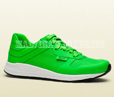 $595 GUCCI MENS SNEAKERS IPANEMA NEON GREEN LEATHER EMBOSSED LOGO 7G 8 41.5
