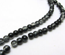 New 6MM 50pcs  Round Crackle Art Crystal Glass Spacer Charm Beads Black