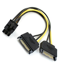 15cm Dual two SATA 15Pin Male M to PCI-e 6Pin Female F Video Card Power Cable