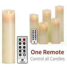 Luminara Moving Wick Flameless Candle Set Of 5 Candle with 10-key Remote Vanilla