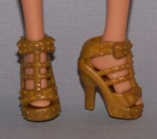Barbie Doll Shoes Fashionista Life in the Dreamhouse Gold Platform Sandals Heels
