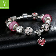 European Fashion Silver Charm Bracelet With Pink Beads Fit Women Christmas Gifts