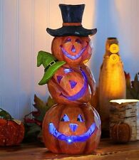 """Lighted Color Changing 3 Pumpkin Trio Stacked Jack-o-lantern Halloween Decor 14"""""""