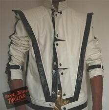 New!!Michael Jackson Thriller Leather White jacket Free Billie Jean Glove!