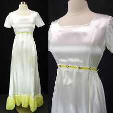 Vintage 70s Silky White Satin Yellow Ruffle Empire Prairie Maxi Wedding Dress XS