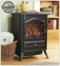 New Traditional 1.8Kw Black Log Burner Flame Effect Electric Stove Fire Heater