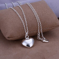STERLING SILVER PLATED PUFFY HEART PENDANT NECKLACE FASHION JEWELRY 18""