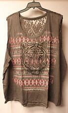 NEW WOMENS PLUS SIZE 4X COOL HI LOW AZTEC TIGER FACE HEAD TANK TOP SHIRT W LACE