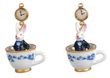 Les Nereides N2 Alice In Wonderland Rabbit Blue Teacup Earrings Brand new