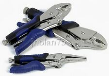 "KOBALT 3 Pc Locking Pliers Set 6.5"" Long Nose 7"" & 10"" Curved Jaw Vise Vice Grip"