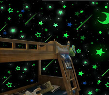 100X Luminous Stars Stickers Glue Glow In The Dark Bedroom Home Wall Room Decor