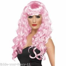 Women's Girls Pink Siren Wigs 80's Glamour Fancy Dress Outfit Wig Wonder Woman