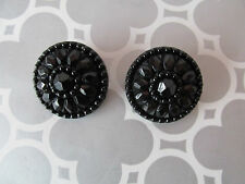 """Lot of 2 Badgley Mishka Large 1 1/4"""" Black Faceted+Beaded Replacement Buttons"""