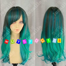 COS Harajuku wig New long girls Green Mixed Cosplay Party Curly Wigs+Wig cap