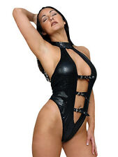 Sexy Black PVC Snake Skin Buckle Body ~ Womens Erotic Lingerie ~ Underwear ~ New