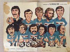 MANIFESTO CALCIO 1976/77 SQUADRA U.C. SAMPDORIA CARICATURE DISEGNATORE D' ANNA
