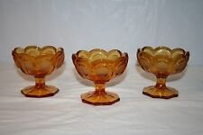 3 Vintage Fostoria Amber Coin Glass Footed Open Jelly or Candy Dish