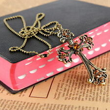 Gothic Punk Vintage Brass Cross Pendant Long Chain Necklace Jewellery UK Seller