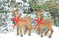 GISELA GRAHAM CHRISTMAS WINTER WOODLAND RESIN REINDEER  DECORATION X 2