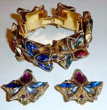 A VINTAGE KALINGER GOLD TONE BRACELET & CLIP EARRINGS SET, WITH DIAMANTES