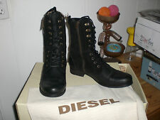 NIB Diesel Give Women 10 41 Black Leather Mid Calf Riding Equestrian Motor Boots